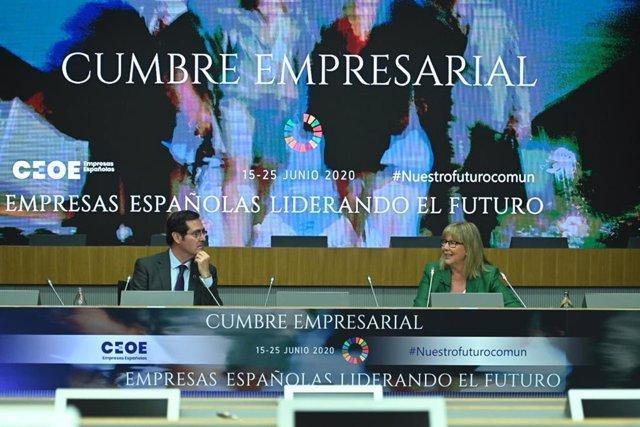 Antonio Garamendi, presidente de la CEOE, con María Luz López-Carrasco, presidenta de Fenin, en la  Cumbre Empresarial 'Empresas españolas liderando el futuro'.
