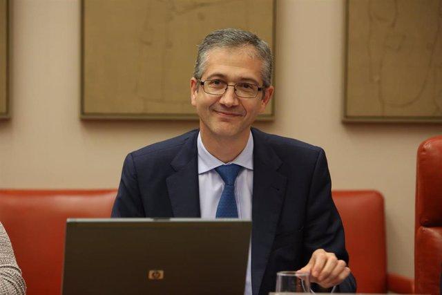 El gobernador del Banco de España, Pablo Hernández de Cos, en una comparecencia en el Congreso de los Diputados.