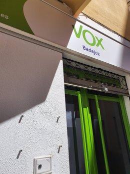 Fachada de la sede de VOX en Badajoz
