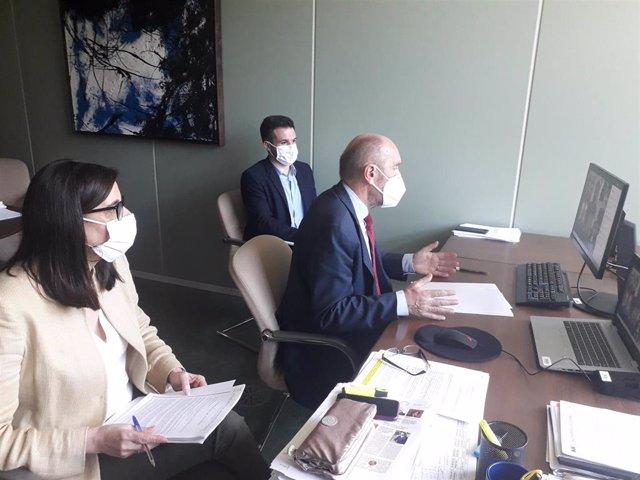 El vicepresidente de Asturias, Juan Cofiño, preside la reunión telemática del comité de expertos para la vuelta progresiva a la normalidad en Asturias tras el confinamiento.