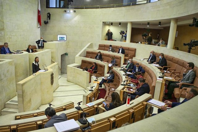 La consejera de Presidencia, Paula Fernández, en el Pleno del Parlamento