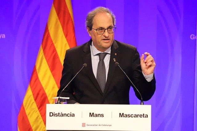 El presidente de la Generalitat, Quim Torra, en rueda de prensa.