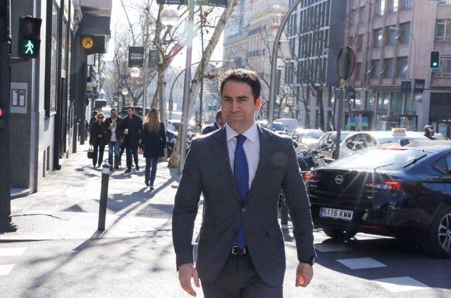 El secretario general del PP, Teodoro García Egea, a su llegada a la reunión del Comité de Dirección del Partido Popular en Madrid, en Madrid a 24 de febrero de 2020.