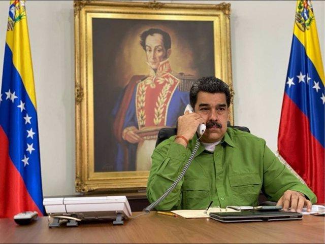 El presidente de Venezuela, Nicolás Maduro, en el Palacio de Miraflores