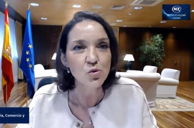 Reyes Maroto en la conferencia 'online' de Nueva Economía Fórum.
