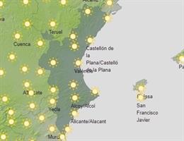 Mapa con la predicción del tiempo en la Comunitat Valenciana para este martes, 23 de junio.