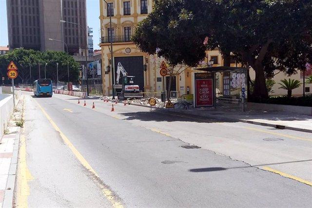 Obras en la avenida de Andalucía de Málaga capital