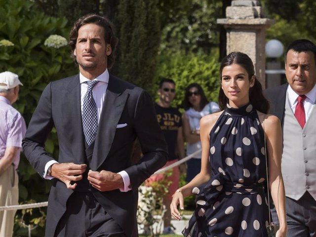 Feliciano López y Sandra Gago en la boda del hermano del tenista