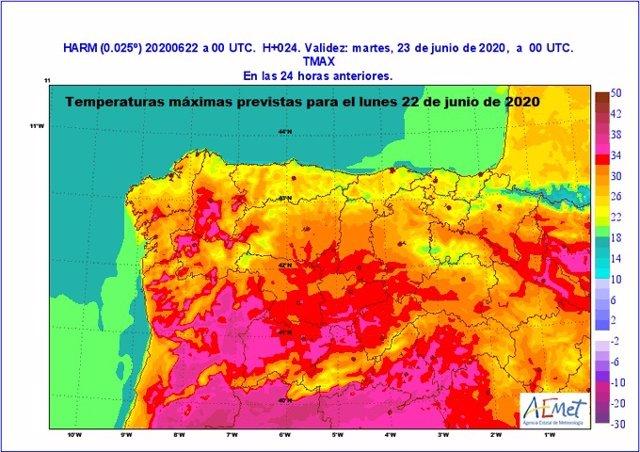 Mapa facilitado por la Aemet sobre la previsión de temperaturas para este martes