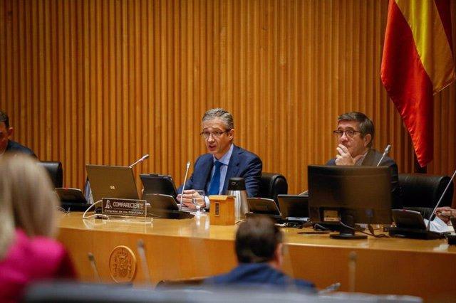 El gobernador del Banco de España, Pablo Hernández de Cos, comparece ante la Comisión para la Reconstrucción Social y Económica de Congreso este martes.