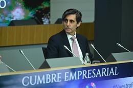El presidente ejecutivo de Telefónica, José María Álvarez-Pallete, en la cumbre 'Empresas españolas liderando el futuro' organizada por CEOE, Á