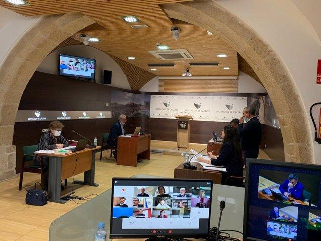 Uno de los Plenos telemáticos que ha celebrado la Diputación de Cáceres durante el estado de alarma