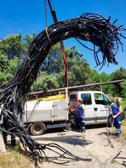Cable aéreo robado por un vecino de el Catllar (Tarragona) e incautado por los Mossos d'Esquadra