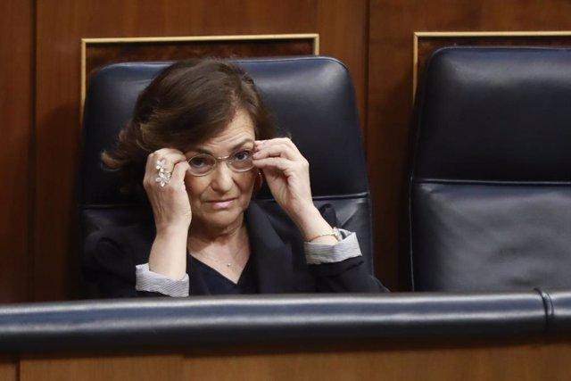 La vicepresidenta primera del Govern espanyol, Carmen Calvo, al Congrés dels Diputats. Madrid (Espanya), 10 de juny del 2020.