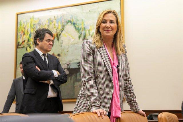 La vicesecretaria de Organización del PP, Ana Beltrán, momentos antes del inicio en el Congreso de la comparecencia del ministro del Interior, Fernando Grande-Marlaska. En Madrid (España) a 23 de abril de 2020.