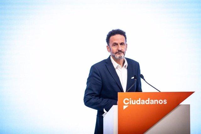 El portavoz adjunto de Ciudadanos en el Congreso de los Diputados, Edmundo Bal, en una rueda de prensa en la sede del partido.