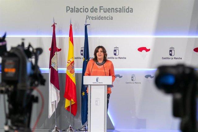 La consejera de Economía, Empresas y Empleo, Patricia Franco, en rueda de prensa.