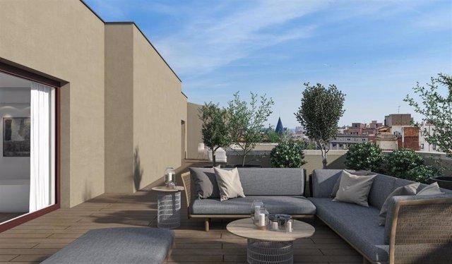 Imagen de un ático con terraza en Barcelona