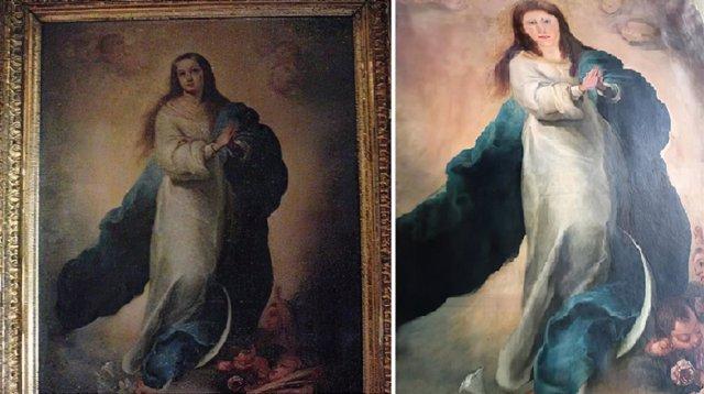 Imagen de la copia de una de las famosas Inmaculadas de Murillo del coleccionista valenciano (i) y el resultado después de la intervención