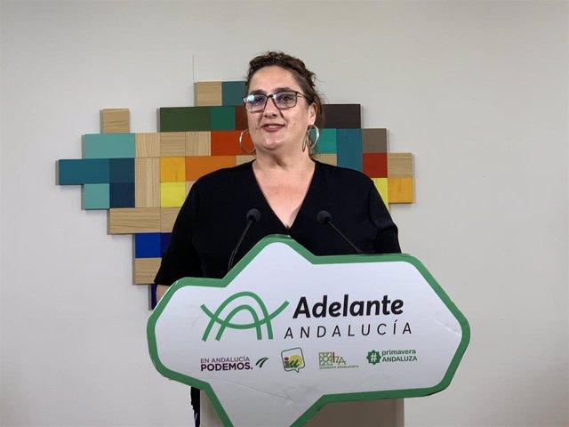 La portavoz adjunta del grupo parlamentario Adelante Andalucía, Ángela Aguilera, en una foto de archivo