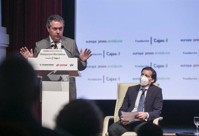 El alcalde de Sevilla, Juan Espadas, interviene en los desayunos informativos de Europa Press Andalucía, con el patrocinio de Fundación Cajasol, Atlantic Copper, Cepsa y Laboratorios Vir