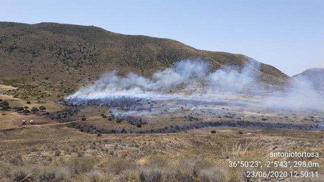 Incendio en el paraje de la Serrata, en Níjar (Almería)