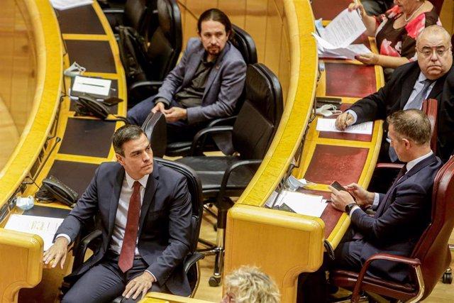 El presidente del Gobierno, Pedro Sánchez, en el Pleno del Senado.