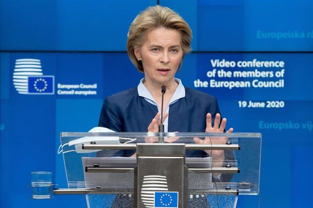 HANDOUT - 19 June 2020, Belgium, Brussels: European Commission President Ursula von der Leyen speaks during a press conference following an European summit via videolink. Photo: Etienne Ansotte/European Commission/dpa - ATTENTION: editorial use only and o
