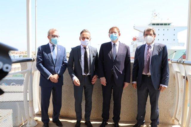 Visita del ministro de exteriores alemán al puerto de Valencia