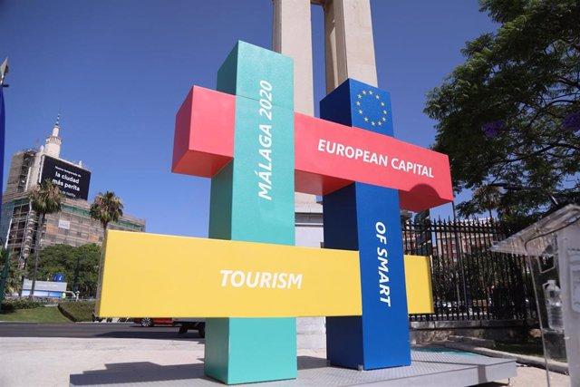Escultura donada por Europa a la ciudad de Málaga, capital europea de turismo inteligente 2020