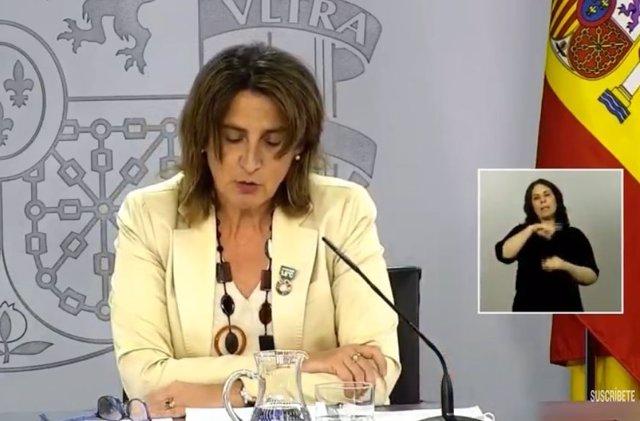 Teresa Ribera en la rueda de prensa.