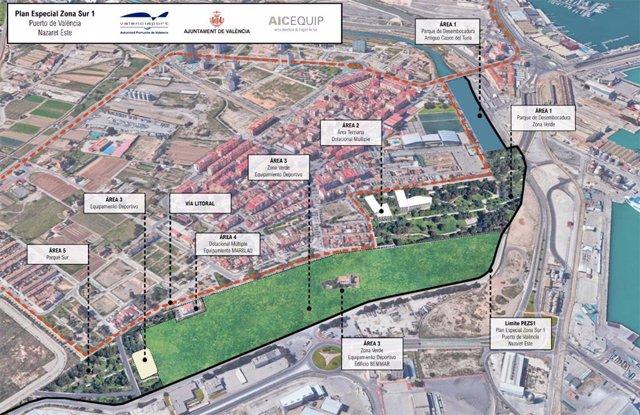 Imagen del desarrollo del Plan Especial de la Zona Sur 1 del Puerto de València-Nazaret Este.