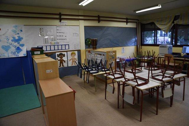 Aula en un Colegio de Infantil, foto de archivo