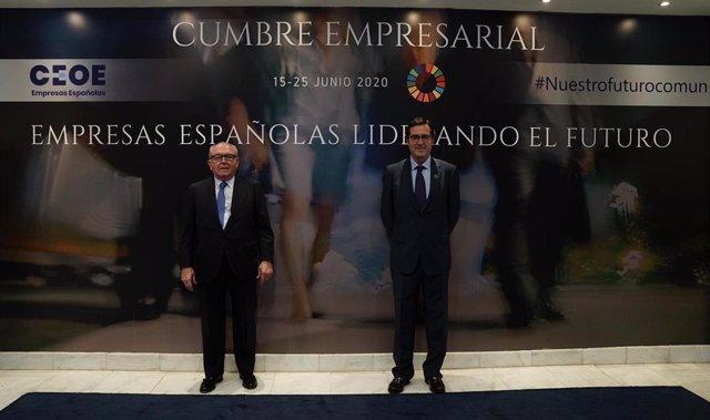 Eduardo Serra (DigitalES) y Antonio Garamendi (CEOE) en la cumbre empresarial organizada por CEOE