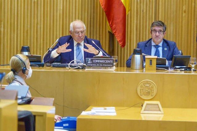 El alto representante de la Unión para Asuntos Exteriores y Política de Seguridad y vicepresidente de la Comisión Europea, Josep Borrell, durante la comparecencia en la Comisión para la Reconstrucción Social y Económica.