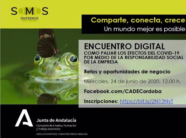 Cartel promocional del encuentro digital de Andaucía Emprende.