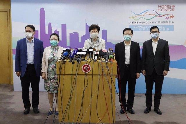 Carrie Lam en rueda de prensa en Pekín