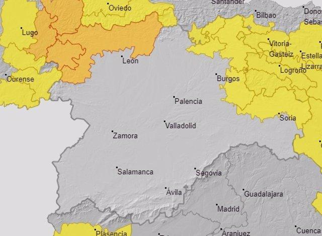 Mapa de avisos de riesgo en Castilla y León para este miércoles, 24 de junio.