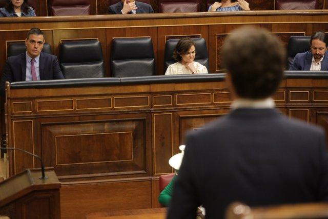El líder del PP, Pablo Casado, interviene durante la primera sesión de control al Gobierno en el Congreso de los Diputados.