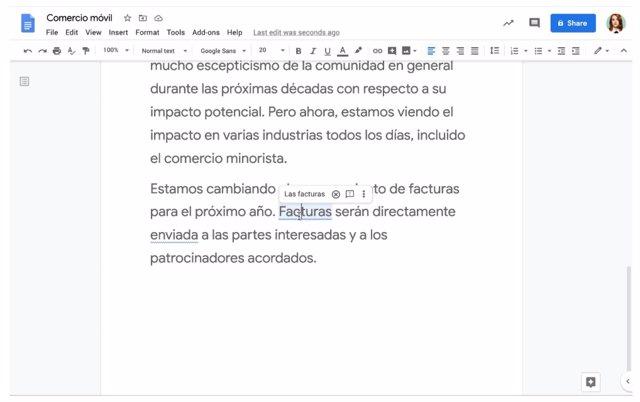 Sugerencias gramaticales en español en Docs