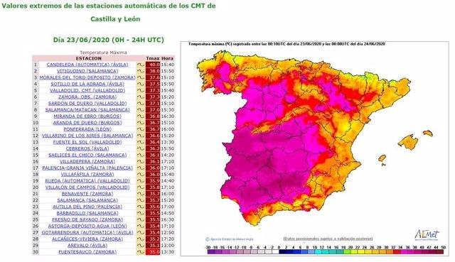 Mapa elaborado por la Aemet sobre las máximas registradas en CyL en la jornada del martes 23 de junio