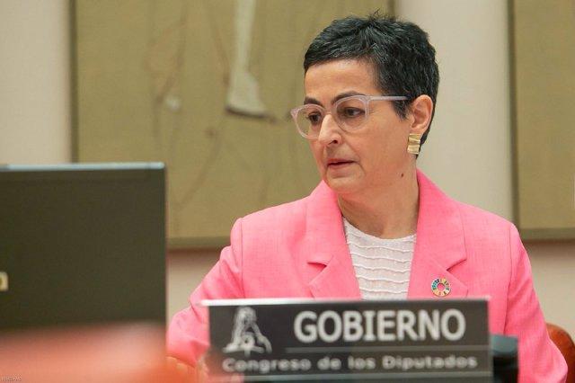 La ministra de Asuntos Exteriores, Unión Europea y Cooperación, Arancha González-Laya, durante su comparecencia ante la Comisión de Cooperación Internacional para el Desarrollo, a petición propia y de los grupos parlamentarios Popular, Vox, Ciudadanos y P