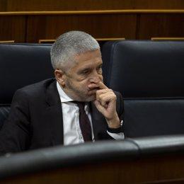 El ministro del Interior, Fernando Grande-Marlaska, durante una sesión en el Congreso de los Diputados