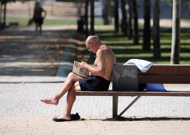 Un hombre lee un libro en un parque parque de Madrid después de que la Agencia Estatal de Meteorología (Aemet) activara ayer lunes la primera alerta amarilla por calor de este año en la Comunidad de Madrid. En Madrid (España), a 23 de junio de 2020.
