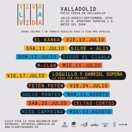 Cartel del ciclo de conciertos 'Viva la Vida' en Valladolid.