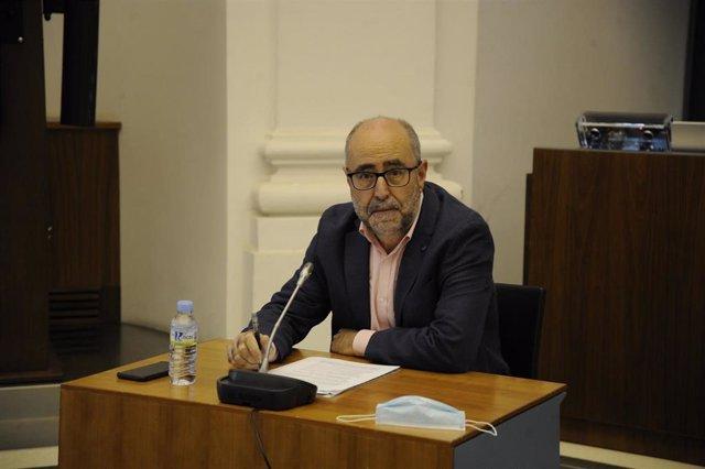 El secretario general de Presupuestos y Financiación de la Junta de Extremadura, Isidoro Novas, en la comisión de la Asamblea.