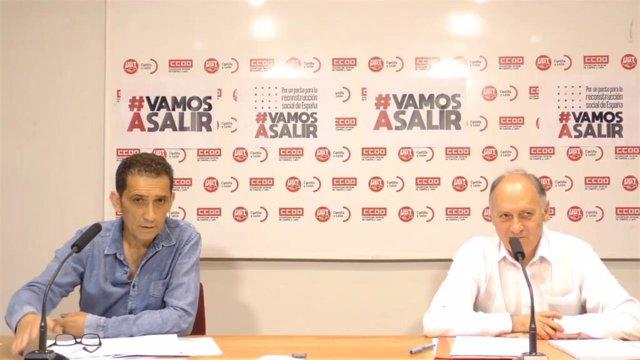 Los secretarios generales de CCOO y UGT, Vicente Andrés (i) y Faustino Temprano (d), respectivamente.