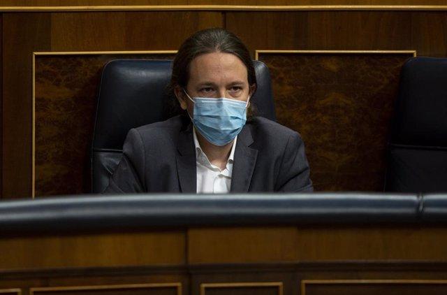 El vicepresidente segundo del Gobierno, Pablo Iglesias, en el Congreso durante el Pleno en que se ha discutido sobre la nueva Ley de Educación y los nuevos plazos de la Ley de Enjuiciamiento, en Madrid (España), a 17 de junio de 2020.