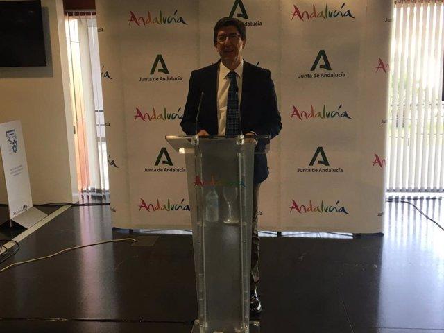 Juan Marín en rueda de prensa en Marbella