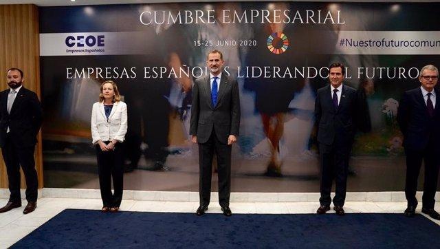 El Rey Felipe VI clausura la Cumbre Empresarial de la CEOE.